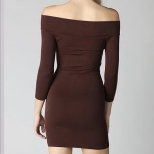 Dresses & Skirts - Off the Shoulders Bodycon Mini Dress in Dark Brown
